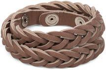 styleBREAKER Leder Armband in Flecht-Optik, Vintage Style, Lederarmband, Unisex 05040053 – Bild 2