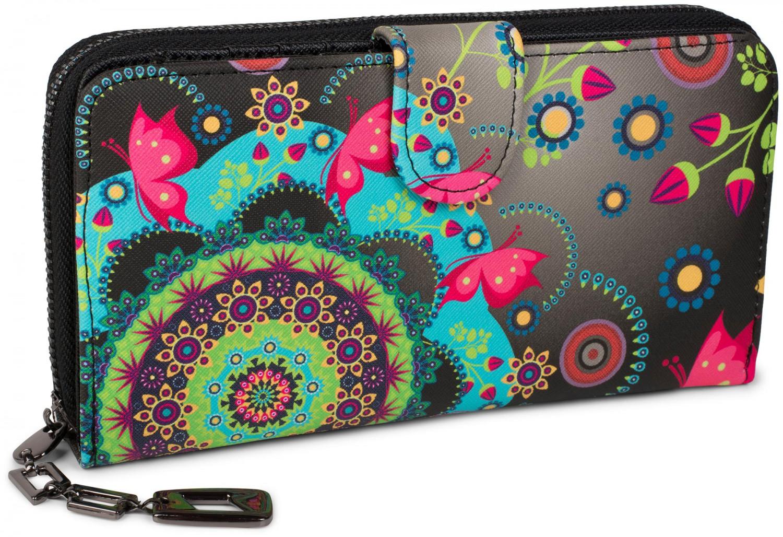 21c7a333fafd9f styleBREAKER Geldbörse mit Ethno Blumen und Blüten Muster, Vintage Design,  Reißverschluss, Portemonnaie,