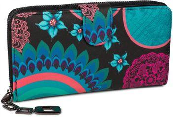 styleBREAKER Geldbörse mit Ethno Blumen und Blüten Muster, Vintage Design, Reißverschluss, Portemonnaie, Damen 02040040 – Bild 4