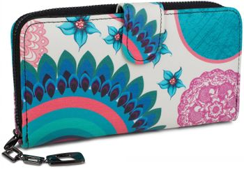 styleBREAKER Geldbörse mit Ethno Blumen und Blüten Muster, Vintage Design, Reißverschluss, Portemonnaie, Damen 02040040 – Bild 8