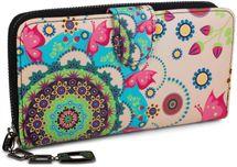 styleBREAKER Geldbörse mit Ethno Blumen und Blüten Muster, Vintage Design, Reißverschluss, Portemonnaie, Damen 02040040 – Bild 7