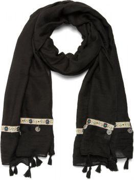 styleBREAKER unifarbener Ethno Style Schal mit Blümchen Borte, Quasten und Medaillon Anhängern, Damen 01016104 – Bild 2