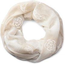 styleBREAKER Loop Schal mit Rosen und Schmetterling Flock Print, Schlauchschal, Tuch, Damen 01016105 – Bild 2