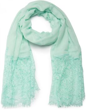 styleBREAKER fringed scarf, uni, with lace trim, flower print, stole, cloth, women 01016112 – Bild 2