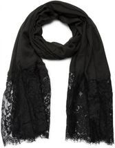 styleBREAKER fringed scarf, uni, with lace trim, flower print, stole, cloth, women 01016112 – Bild 4