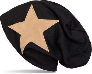 styleBREAKER slouch beanie with artificial leather star patch, slouch longbeanie, unisex 04024071  – Bild 4