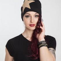 styleBREAKER slouch beanie with artificial leather star patch, slouch longbeanie, unisex 04024071  – Bild 28
