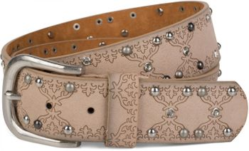 styleBREAKER studded belt with ethno ornaments, rhinestone and vintage design ball rivets, can be cut to length on request, ladies 03010061 – Bild 14