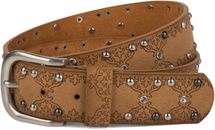 styleBREAKER studded belt with ethno ornaments, rhinestone and vintage design ball rivets, can be cut to length on request, ladies 03010061 – Bild 10