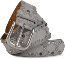 styleBREAKER studded belt with ethno ornaments, rhinestone and vintage design ball rivets, can be cut to length on request, ladies 03010061 – Bild 1