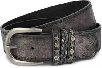 styleBREAKER 2-tone look vintage belt with decorative buckle band, rivets, rhinestone, can be cut to length on request, unisex 03010062 – Bild 16