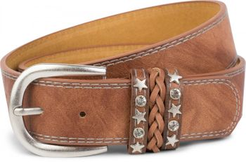 styleBREAKER 2-tone look vintage belt with decorative buckle band, rivets, rhinestone, can be cut to length on request, unisex 03010062 – Bild 17