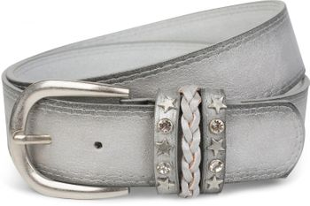 styleBREAKER 2-tone look vintage belt with decorative buckle band, rivets, rhinestone, can be cut to length on request, unisex 03010062 – Bild 19
