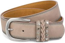 styleBREAKER 2-tone look vintage belt with decorative buckle band, rivets, rhinestone, can be cut to length on request, unisex 03010062 – Bild 7