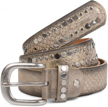 styleBREAKER belt with flat rivets and rhinestone, snakeskin look, decorative stitching, vintage style, can be cut to length on request, ladies 03010064 – Bild 7