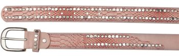 styleBREAKER belt with flat rivets and rhinestone, snakeskin look, decorative stitching, vintage style, can be cut to length on request, ladies 03010064 – Bild 17