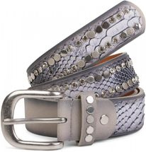styleBREAKER belt with flat rivets and rhinestone, snakeskin look, decorative stitching, vintage style, can be cut to length on request, ladies 03010064 – Bild 1
