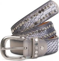 styleBREAKER belt with flat rivets and rhinestone, snakeskin look, decorative stitching, vintage style, can be cut to length on request, ladies 03010064 – Bild 29