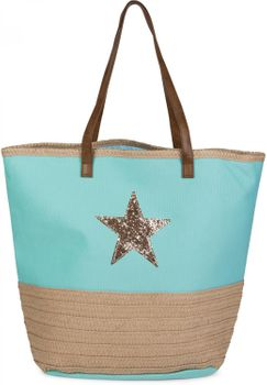 styleBREAKER beach bag with sequined star and bast, sling bag, shopper, spa bag, ladies 02012058 – Bild 1