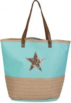 styleBREAKER Strandtasche mit Pailletten Stern und Bast, Schultertasche, Shopper, Badetasche, Damen 02012058 – Bild 1