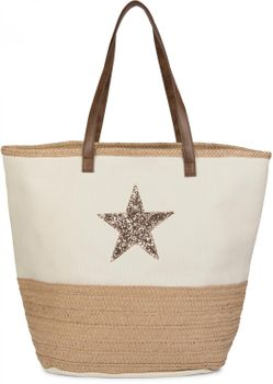 styleBREAKER beach bag with sequined star and bast, sling bag, shopper, spa bag, ladies 02012058 – Bild 3