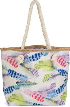 styleBREAKER Strandtasche mit buntem Feder Muster und Reißverschluss, Schultertasche, Shopper, Badetasche, Damen 02012059 – Bild 2