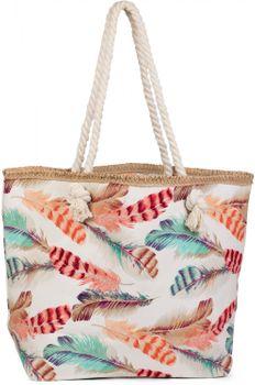 styleBREAKER Strandtasche mit buntem Feder Muster und Reißverschluss, Schultertasche, Shopper, Badetasche, Damen 02012059 – Bild 1