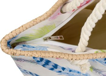 styleBREAKER beach bag with colourful feather print and zipper, sling bag, shopper, spa bag, ladies 02012059 – Bild 8