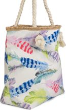 styleBREAKER beach bag with colourful feather print and zipper, sling bag, shopper, spa bag, ladies 02012059 – Bild 6