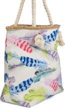 styleBREAKER Strandtasche mit buntem Feder Muster und Reißverschluss, Schultertasche, Shopper, Badetasche, Damen 02012059 – Bild 6