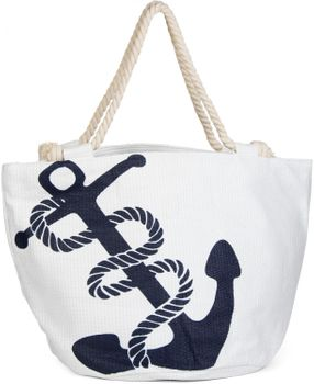 styleBREAKER braided beach bag with anchor print and zipper, shopper, spa bag, ladies 02012060 – Bild 1