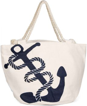 styleBREAKER braided beach bag with anchor print and zipper, shopper, spa bag, ladies 02012060 – Bild 3