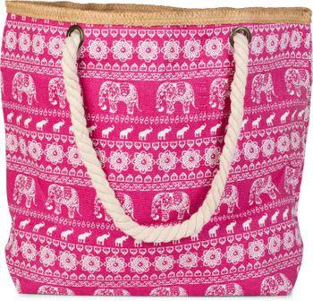 styleBREAKER Strandtasche mit Ethno Elefanten Muster und Reißverschluss, Schultertasche, Shopper, Damen 02012063 – Bild 4