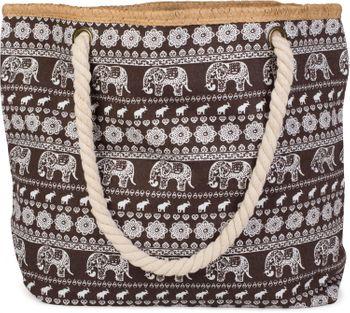 styleBREAKER Strandtasche mit Ethno Elefanten Muster und Reißverschluss, Schultertasche, Shopper, Damen 02012063 – Bild 1