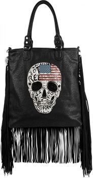 styleBREAKER handbag with US flag, skull, black rhinestone and long fringes, shoulder bag, ladies 02012064 – Bild 2