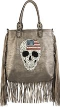 styleBREAKER handbag with US flag, skull, black rhinestone and long fringes, shoulder bag, ladies 02012064 – Bild 3