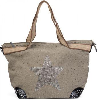 styleBREAKER canvas style handbag with rhinestone star and rivets, sling bag, shopper, ladies 02012066 – Bild 5