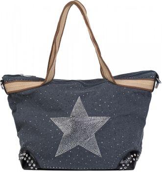 styleBREAKER canvas style handbag with rhinestone star and rivets, sling bag, shopper, ladies 02012066 – Bild 3