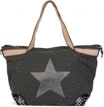 styleBREAKER Handtasche in Canvas Optik mit Strass Stern und Nieten, Schultertasche, Shopper, Damen 02012066 – Bild 3