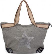 styleBREAKER Handtasche in Canvas Optik mit Strass Stern und Nieten, Schultertasche, Shopper, Damen 02012066 – Bild 4