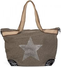 styleBREAKER Handtasche in Canvas Optik mit Strass Stern und Nieten, Schultertasche, Shopper, Damen 02012066 – Bild 2