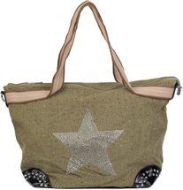 styleBREAKER Handtasche in Canvas Optik mit Strass Stern und Nieten, Schultertasche, Shopper, Damen 02012066 – Bild 6