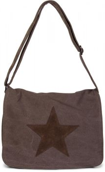 styleBREAKER canvas shoulder bag with artificial leather star patch, bag, unisex 02012068 – Bild 2