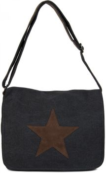 styleBREAKER canvas shoulder bag with artificial leather star patch, bag, unisex 02012068 – Bild 4
