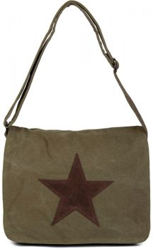 styleBREAKER canvas shoulder bag with artificial leather star patch, bag, unisex 02012068 – Bild 5