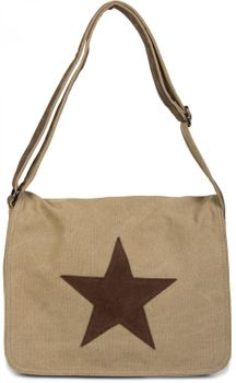 styleBREAKER canvas shoulder bag with artificial leather star patch, bag, unisex 02012068 – Bild 6