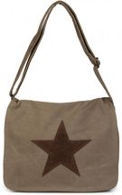 styleBREAKER canvas shoulder bag with artificial leather star patch, bag, unisex 02012068 – Bild 1