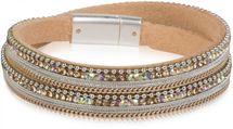 styleBREAKER Wickelarmband mit Strass, Gliederkette und Kügelchen, Magnetverschluss Armband, Damen 05040054 – Bild 5