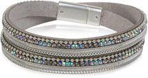 styleBREAKER Wickelarmband mit Strass, Gliederkette und Kügelchen, Magnetverschluss Armband, Damen 05040054 – Bild 1