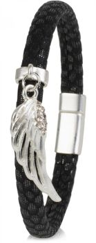 styleBREAKER bracelet with wing pendant, rhinestone covered, scale style, magnetic closure, ladies 05040057 – Bild 1